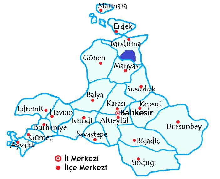 バルケスィル県の地図