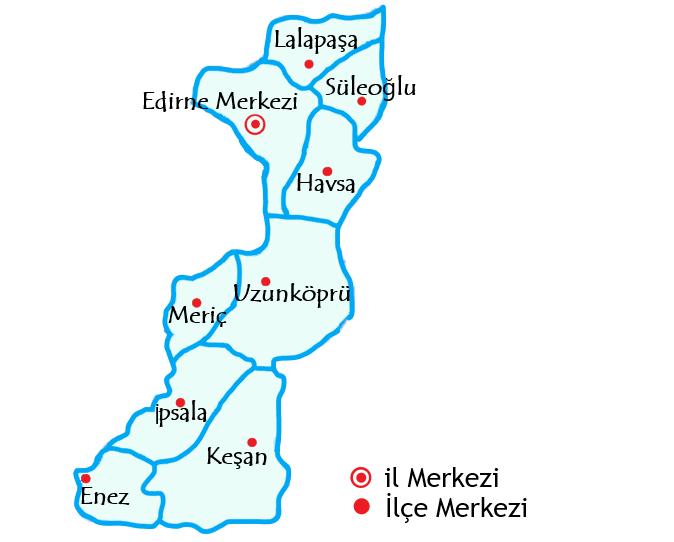 エディルネ県の地図