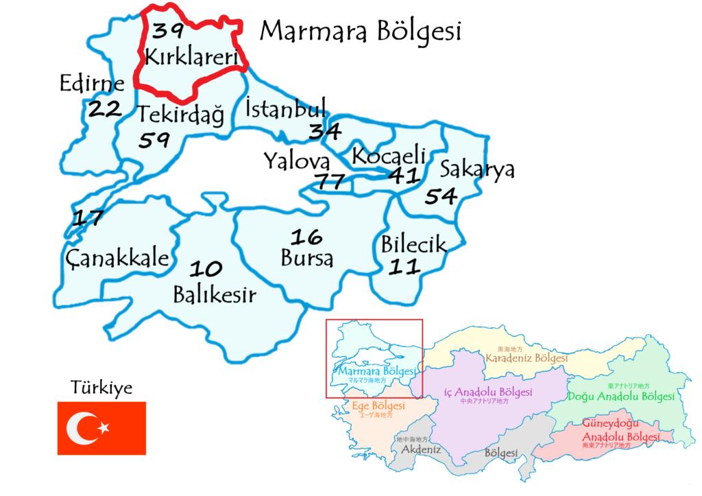 クルクラーレリ県の地図
