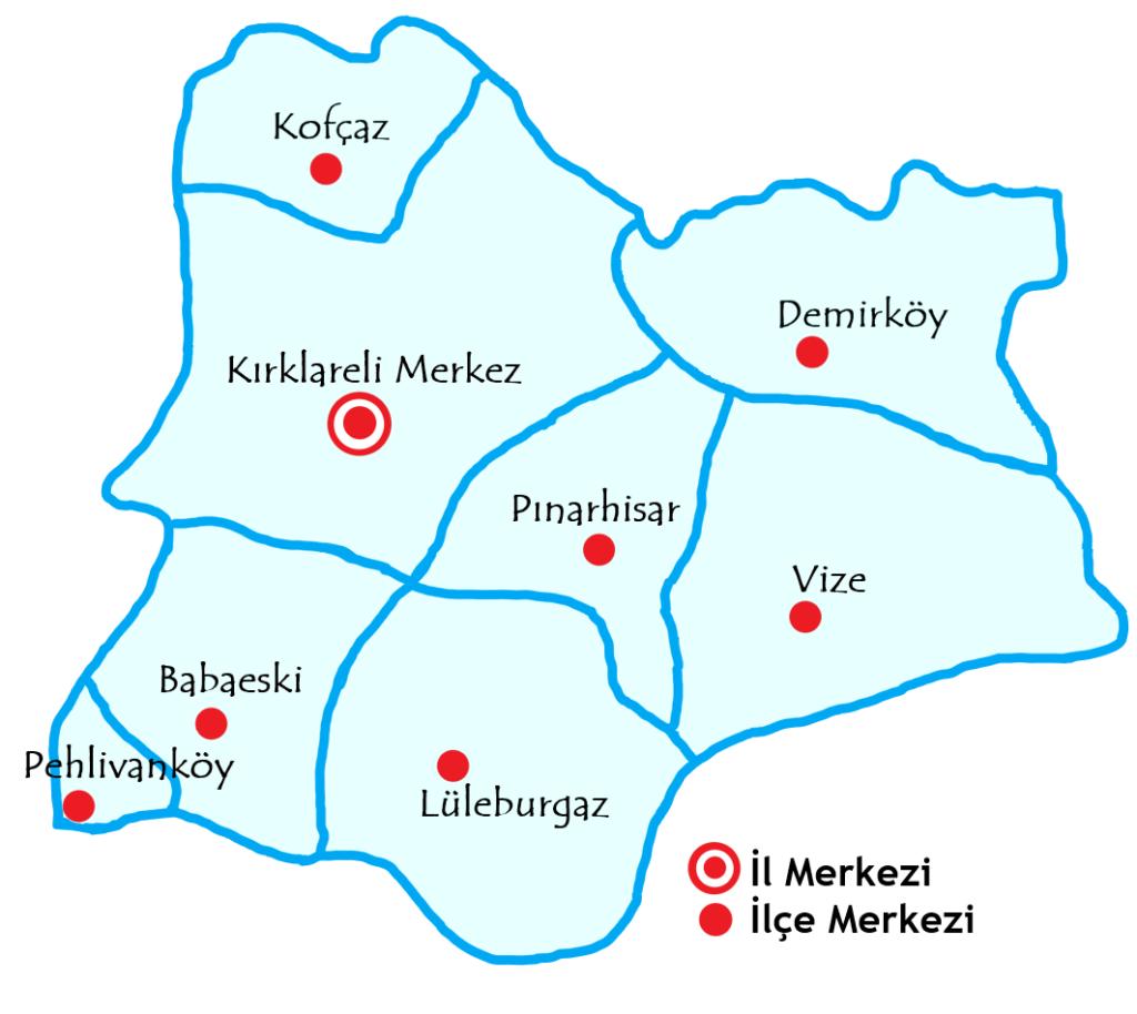 クルクラーレリ県の都市の地図