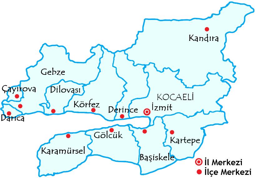 コジャエリ県の都市の地図