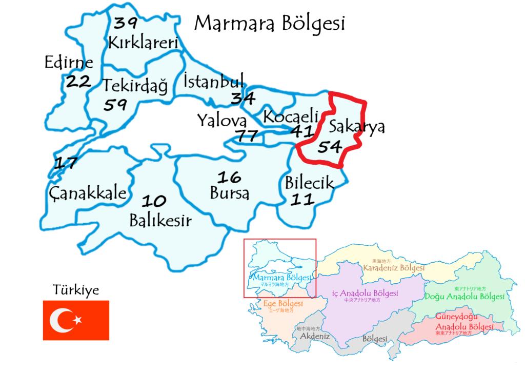 サカルヤ県の地図