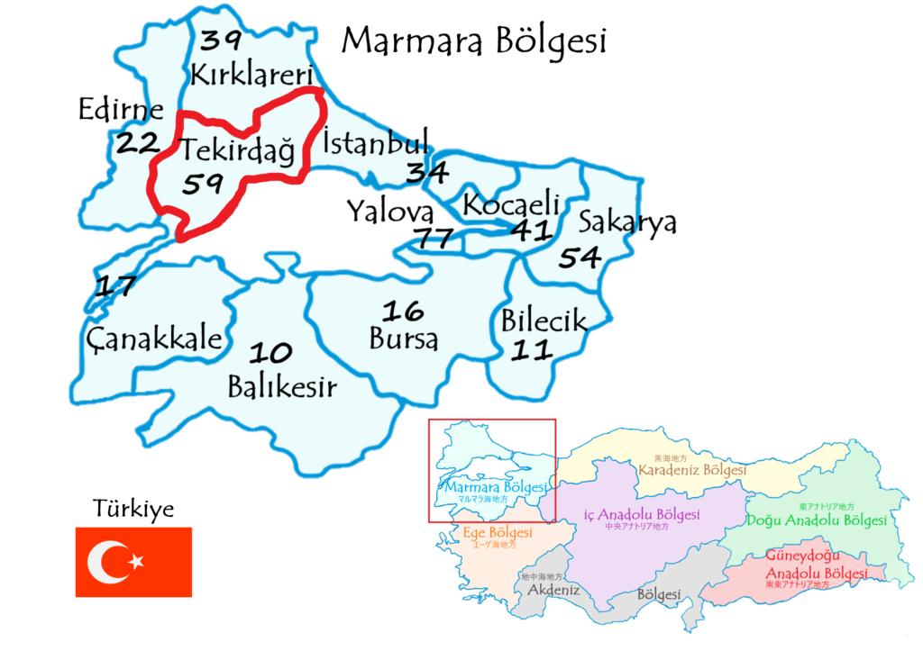テキルダー県の地図