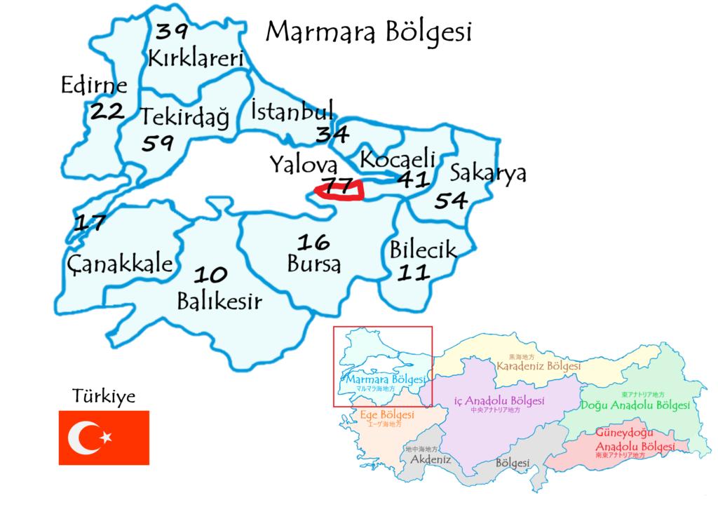 ヤロヴァ県の地図