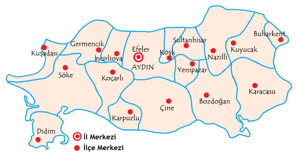 アイドゥン県の都市の地図