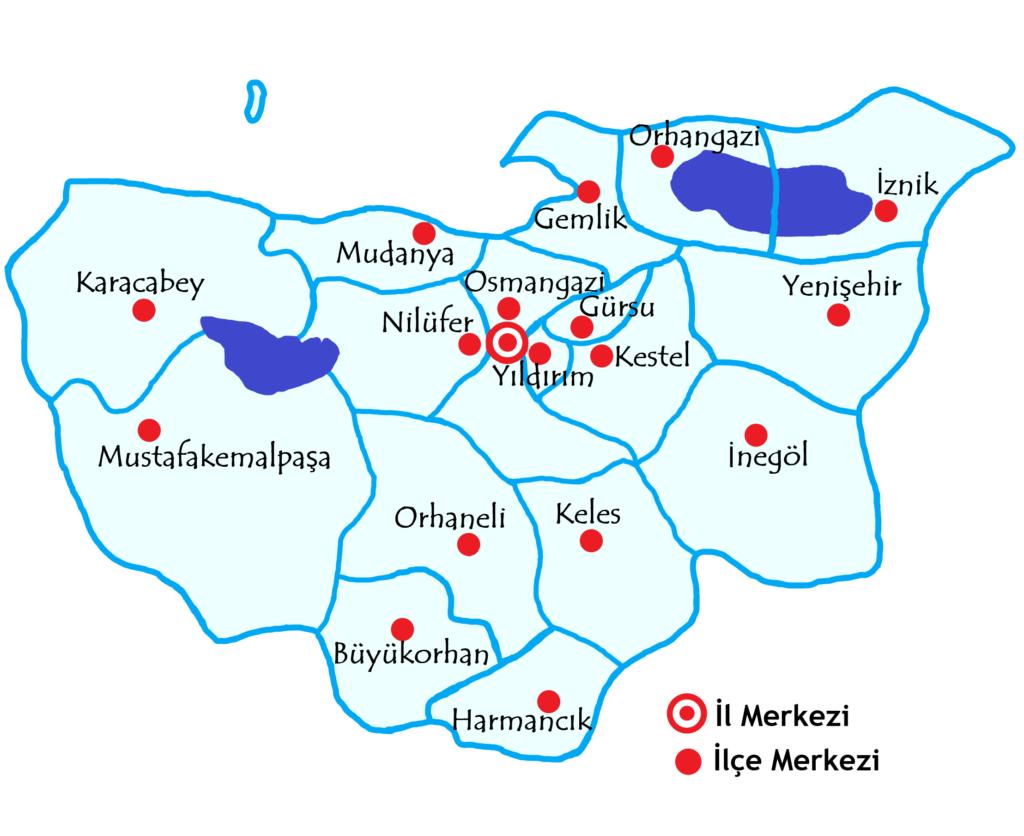 ブルサ県の都市の地図