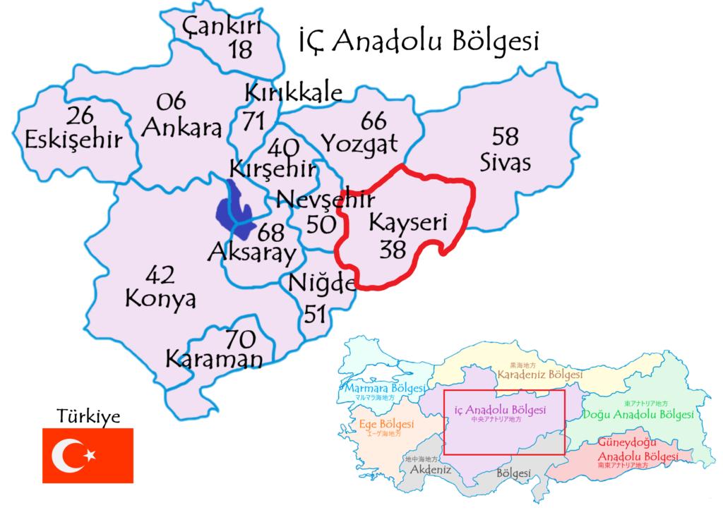 カイセリ県の地図