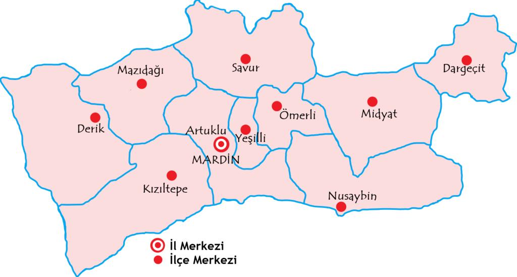 マルディン県の都市の地図
