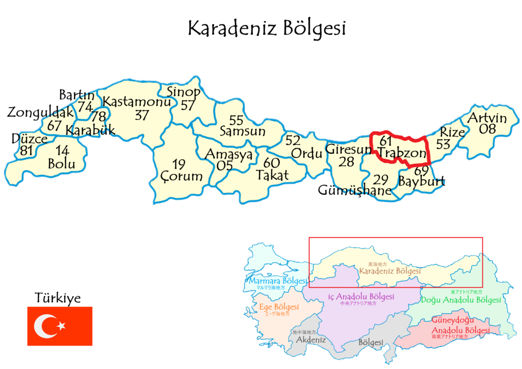 Trabzonトラブゾン県の場所