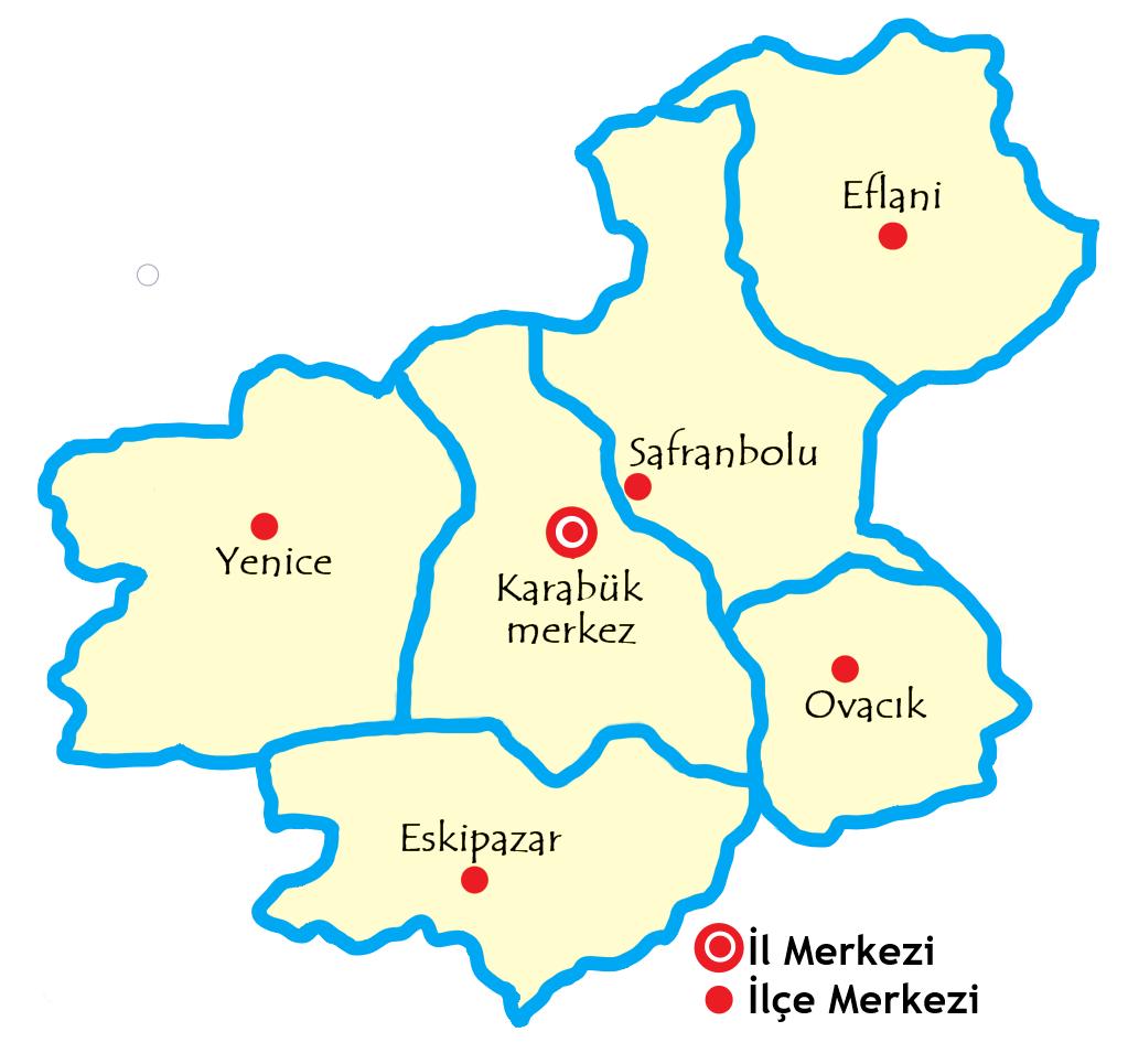 カラビュック県の都市の地図