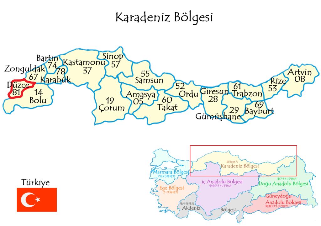 Düzce県の場所