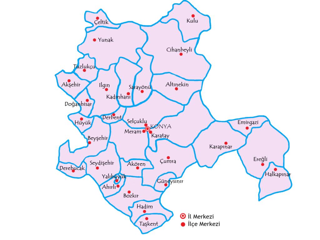 コンヤ県の都市の地図