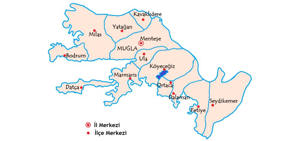 48ムーラ県 ilçe 都市の地図